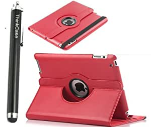 """ThinkCase Magnetic 360 Rotating Smart Case Cover For """"The New iPad"""" 4 /3rd Gen //iPad 2 Automatically Wakes and Puts the iPad 4 & 3 & 2 to Sleep+Stylus(RED)"""