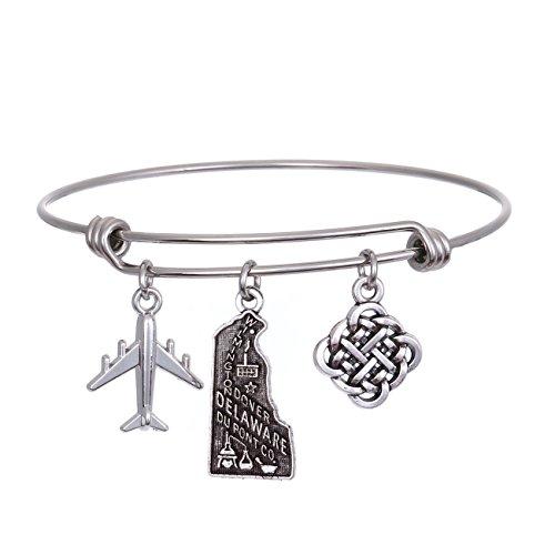 Delaware State Charm - JJTZX State Bangle U.S. Map Charm Expandable Travel Bracelet Long Distance Relationship Gift Best Friends Bracelet (Delaware)