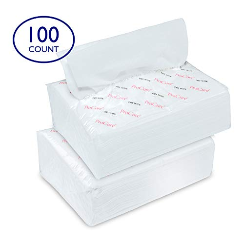 "Ultra Soft Dry Wipes for Baby and Adults, 100 Count - Convenient Dispenser Pack - 11.5"" x 9.25"" - Disposable Cotton Dry Cleansing Cloths, Hospital Washcloths - for Cleaning, Incontinence, Facial Use"