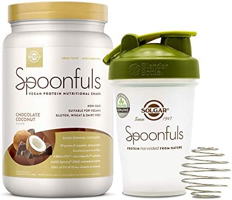 Solgar Spoonfuls Vegan Protein Powder w Blender Bottle – Chocolate Coconut Flavor, 14 Servings – Nutritional Shake w Probiotics, Digestive Enzymes – Non GMO, Gluten, Dairy Free – 3 Scoop Serving