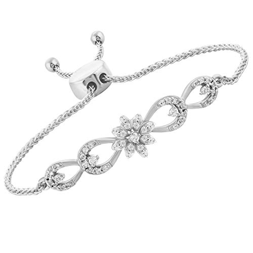 1/4 Ct 925 Sterling Silver Real Diamond Genuine Flower Bar Bolo Bracelet Adj 9