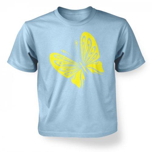 Bright Yellow Butterfly Kids T-shirt - Light Blue XL (12-14)