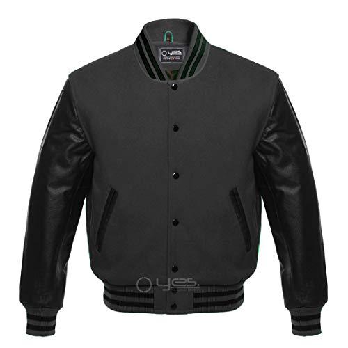 Letterman Baseball Sportswear Varsity Bomber Jacket Wool & Genuine Leather Black/Dark Gray (M)