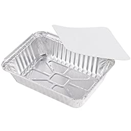 Rectangular Disposable Aluminum Foil Pan Take Out Food Containers with Flat Board Lids, Steam Table Baking Pans, 32 oz, 2.25 lb, 1 Quart [50 Pack]