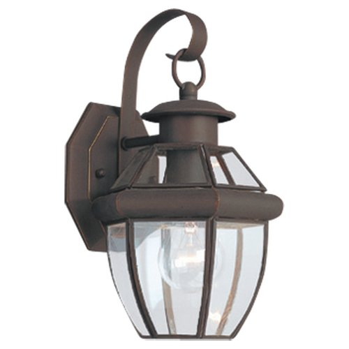 - Sea Gull Lighting 8037-71 Single-Light Lancaster Small Classic Outdoor Wall Lantern, Clear Beveled Glass and Antique Bronze