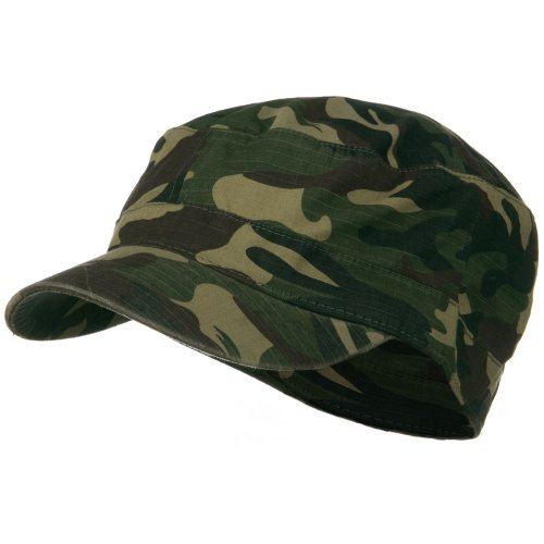 Fitted Cotton Ripstop Army Cap-Green Camo (Cameo Hat)