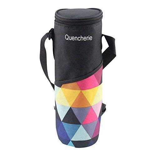 (Quencherie Insulated Wine Tote Bag – 32oz to 48oz Travel Water Bottle Pouch Carrier Holder )
