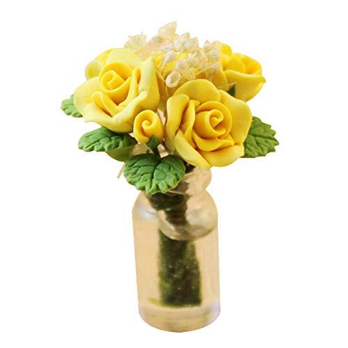 LeSharp Flower Toy, DIY Dollhouse Miniatures,1/12 Scale Dollhouse Miniature Rose Flower in Glass Vase Room Table Decor Toy - Yellow