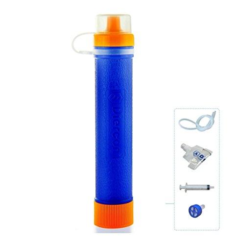 GEERTOP Persönlicher Mini Outdoor Tragbarer Wasserfilter Wasseraufbereitungssystem Wasseraufbereitung 1500L (60g) mit Einem Faltbaren Trinkbeutel für Wandern Trekking Camping Reisen Abenteuer (Blau)