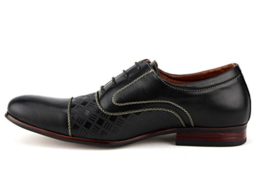 Ferro Aldo Mens 19507l Cap Toe Modello Formale Lace Up Oxford Scarpe Eleganti Nere