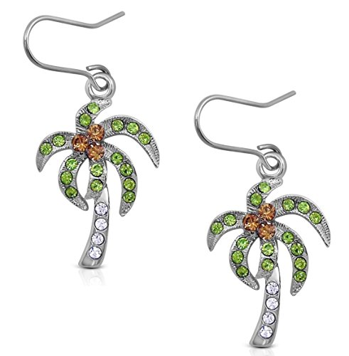 Silver Tone Tropical Palm/Coconut Tree Dangle Earrings with Clear, Light Brown, and Green Crystals (Tropical Palm Tree Earrings)