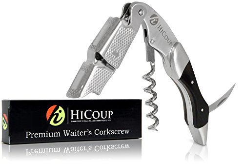 Waiters Corkscrew by HiCoup - Professional Stainless Steel with Ebony Wood Inlay All-in-one Corkscrew, Bottle Opener and Foil Cutter, the Favoured Wine Opener of Sommeliers, Waiters and Bartenders by HiCoup Kitchenware