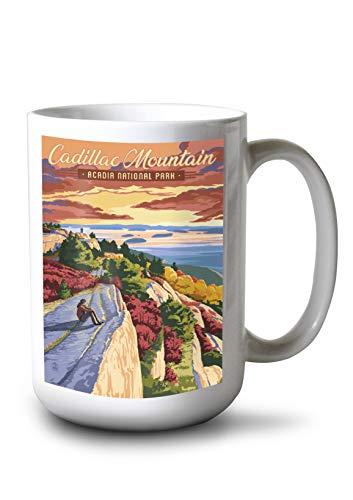 Lantern Press Acadia National Park, Maine - Cadillac Mountain Illustration (15oz White Ceramic Mug) Cadillac Mountain Acadia National Park