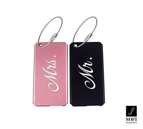 Price comparison product image Elegant Mr Mrs Luggage Tags for Weddings & Bridal Shower Gifts Metal Finish (Pink & Black, 1 Mr. & 1 Mrs.)