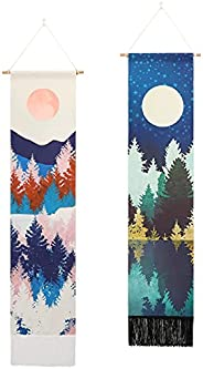 Sun and Moon Tapestry Wall Hanging - Mysterious Art Girl Flower Tassel Tapestries for Dorm, Home Decor