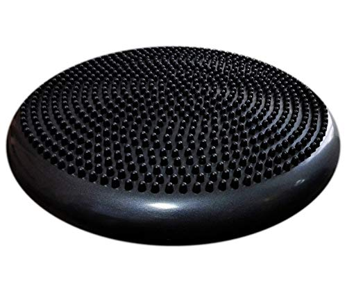 AppleRound Air Stability Wobble Cushion with Pump, 34cm/13.5in Diameter, Balance Disc, Sensory Wiggle Seat (Black)