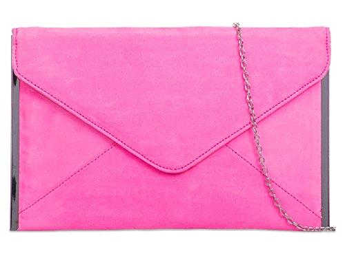 Suede Handbag Bag K50292 Girls Evening amp; Neon Clutch Women's Ladies Purse Pink Party Envelope 6wTEAqx8