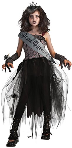 Girls Goth Prom Queen Kids Child Fancy Dress Party Halloween Costume, L -