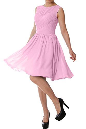 MACloth Women O Neck Short Bridesmaid Dress Chiffon Wedding Party Formal Gown Rosa