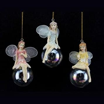 3 x Gisela Graham Hanging Red /& White Pixie on Bubble Christmas Tree Decorations