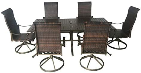 Pebble Lane Living All Weather Rust Proof Outdoor 7 Piece Cast Aluminum Patio Dining Set