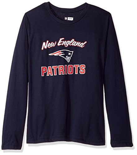Scoop L/s Tee - NFL New England Patriots Women L/S SCOOP NECK TEE, NAVY, 2X