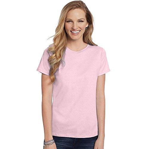 Hanes Women's Relaxed Fit Jersey ComfortSoft® Crewneck T-Shirt_Pale Pink_3XL (Free Womens Pink T-shirt)