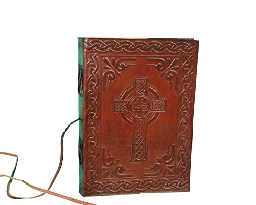 Vintage Leather Bazaar Fair Trade Handmade Indra Celtic Cross Leather Journal Notebook Diary Metal Clasp 7 - Trade Leather Fair