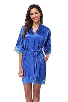 Women's Sexy Satin Short Kimono Robe-Lace Trim