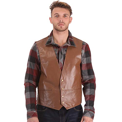 PIECOLOUR Leather Vest Classic Western Cowboy Mens Motorcycle Environmental Protection New (2XL, Brown)]()