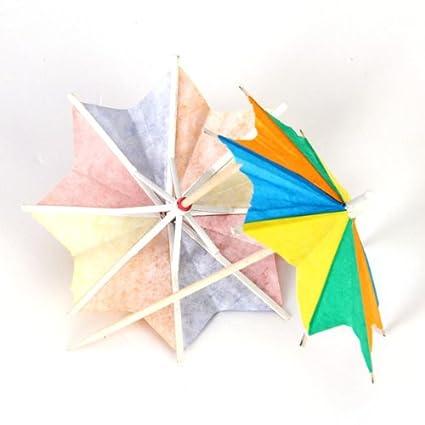 Papel Paraguas Sombrilla Palillos para Bebida Cóctel Ocho Cuadrados