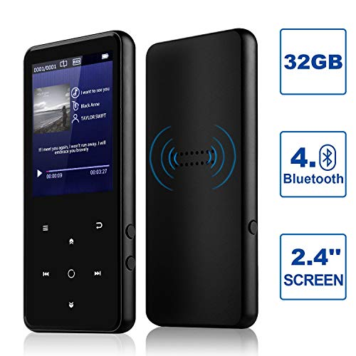 """MP3 Player, Alptory 32GB MP3 Player with Bluetooth 4.0,Portable Sports Music Player 2.4"""" Screen Built-in Speaker with Voice Recorder,MP4 Player,Video Player,FM Radio,Text Reading, HiFi Lossless Sound"""