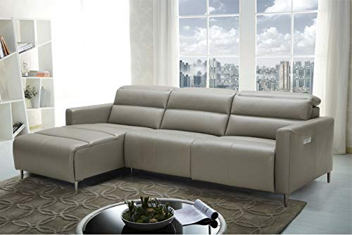 (J&M Furniture Dylan Leather Left Facing Sectional Sofa in Taupe)