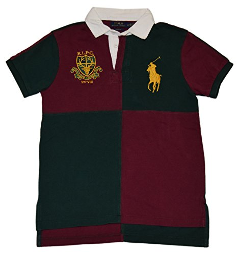 fan products of Ralph Lauren Polo Men Custom Fit Big Pony Rugby Patchwork Shirt Red Green Medium