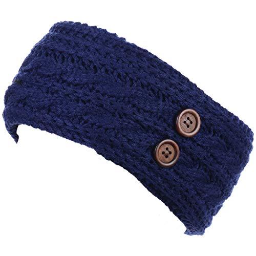 (BYOS Women's Winter Chic Cable Warm Fleece Lined Crochet Knit Headband Turban )