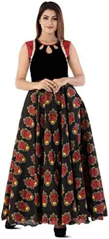89d25b1df15e Utsav Fashion Kalamkari Printed Cotton Silk Circular Gown in Black