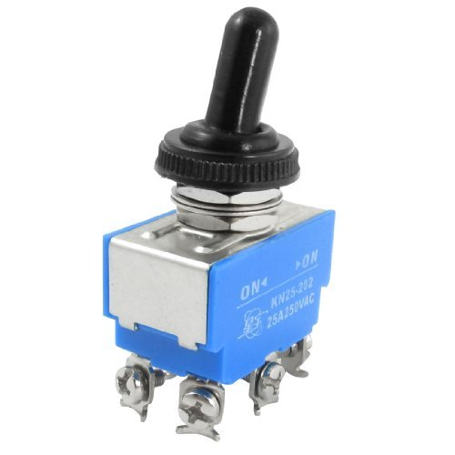 DealMux 6 Screw Terminals On/On DPDT Toggle Switch with Waterproof Boot, AC, 250V, 25 Amp