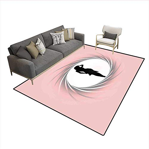 """Price comparison product image Carpet, Hot Lady Image in Spiral Zoom Circle Design in Modern Warm Pastel Tone Artsy Print, Non Slip Rug Pad, Pink Black 6'6""""x8'"""