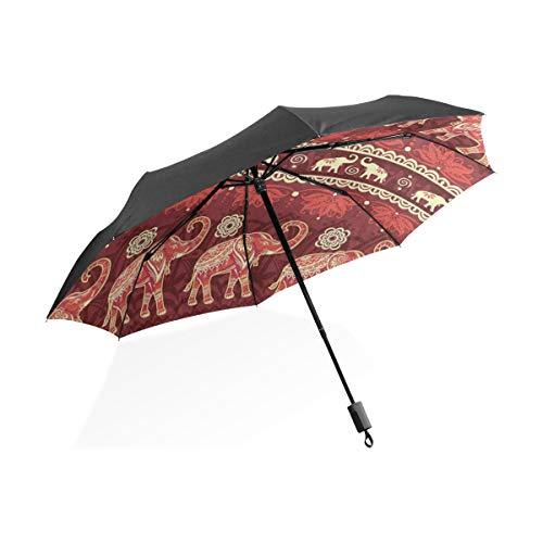 Umbrella Red Elephant Animal Mandala Folding Anti-UV Umbrella Lightweight