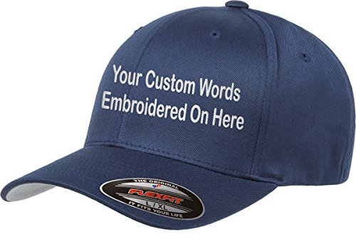 UNAMEIT Custom Hat. Flexfit 6277. Flexfit 6477. Embroidered. Your Own Text Curved Bill. (L/XL, (Custom Sombrero)