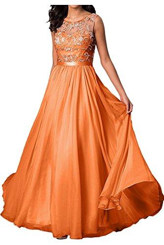 La_mia Braut Hell Gruen Damen Chiffon Abendkleider Ballkleider Partykleider Formalkleider A-linie Rock Aus Chiffon mit Steine Orange pC2iME2c