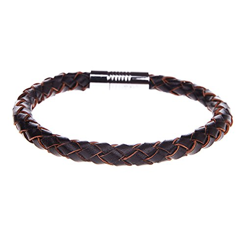 Men Bracelet Braided Brown Leather with Magnetic Locking ...