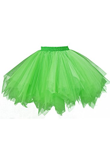 (emondora Short Tutu Tulle Adult Costumes Skirt Multi-Colored Ballet 1950s Retro Party Petticoat Grass Size)