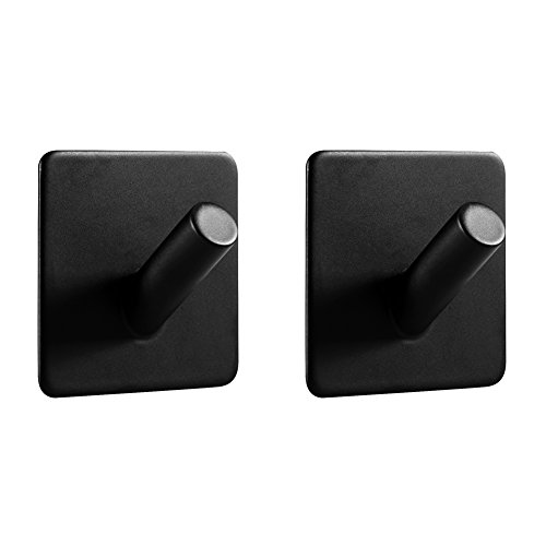 (LJLink 3M Self Adhesive Hooks Stainless Steel Coat Towel Key Wall Mount Hanging Hooks, Strong Power Heavy Duty, Waterproof, Modern Stylish for Bathroom Kitchen Bedroom Office, Matte Black Hook, 2 Pack)