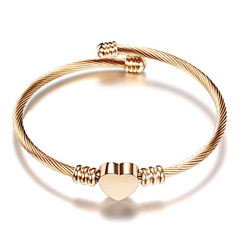 Rose Gold Stainless Steel Bracelet - VQYSKO 3 Colors Jewelry Women's Stainless Steel Twisted Cable Wire Heart Charm Bracelet Bangle (Rose Gold)