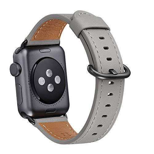 WFEAGL Compatible iWatch Band 38mm 40mm, Top Grain Leather Band Replacement Strap for iWatch Series 4,Series 3,Series 2,Series 1,Sport, Edition (Grey Band+Black Adapter,38mm 40mm)
