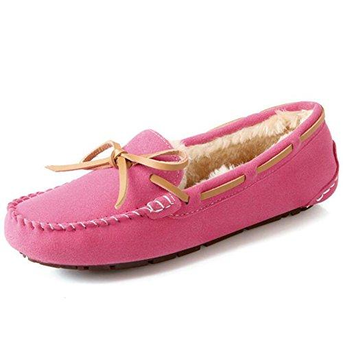 Hattie Neige Sur Chaussures Rouge De Ballerines Mocassins Synthétique Femmes Rose Glisser Hiver Décontractée Suede rqrXw