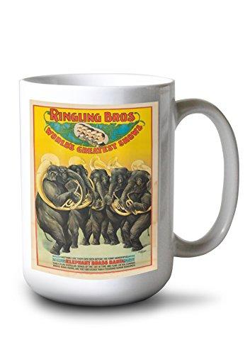 Lantern Press Ringling Bros - Elephant Brass Band Vintage Poster USA c. 1899 (15oz White Ceramic Mug)