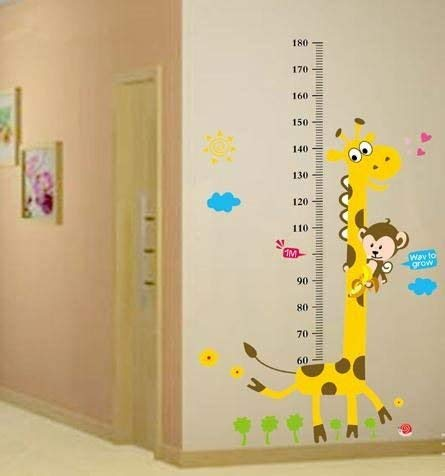 Home Find Monkey and Giraffe Children Personalized Height Measurement Growth Chart Vinyl Wall Decals for Kids Nursery Room 34.6 inches x 59 inches