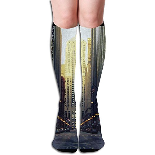Building Road Chicago Big Girls/Women Cute 3D Pattern Knee High Socks Compression - Shops Road Hall